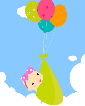 Baby shower - cute baby and balloon Vector