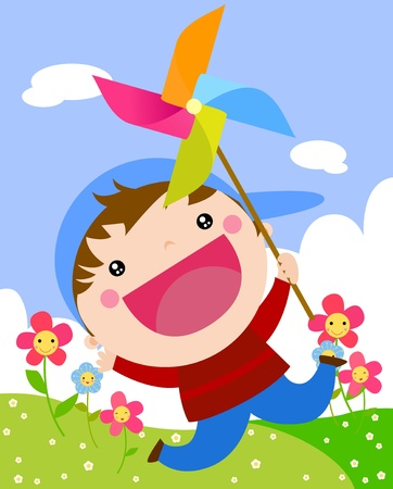 Little boy jumping with windmill Vector