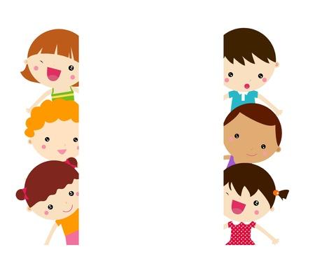 niños con pancarta: Los niños de dibujos animados lindo marco Vectores