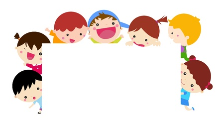 Cute cartoon kids and banner