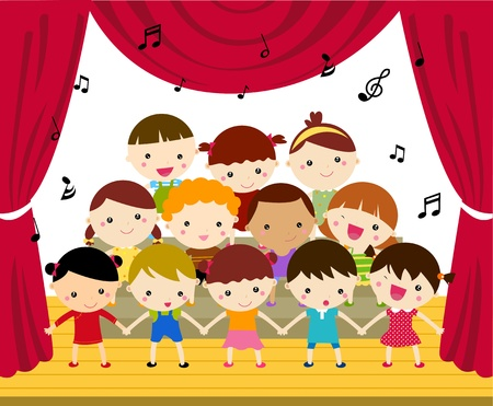 doodle art clipart: Childrens Choir Performing on Stage Illustration