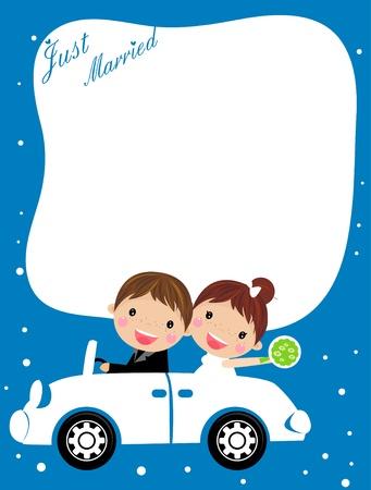 recien casados: Ilustración de un coche de la boda