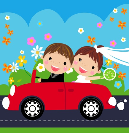 groom and bride: Happy bride and groom Illustration