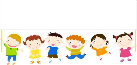 Multicultural children and banner  Vector