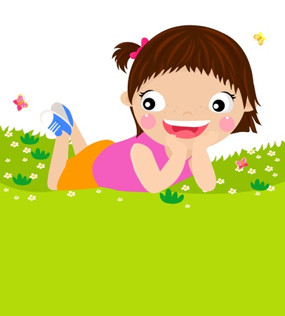 Girl Enjoying Spring  Stock Vector - 15452354