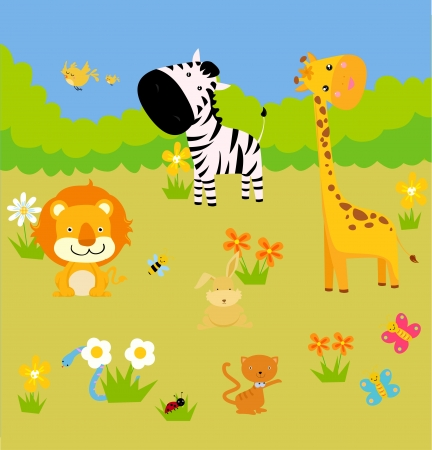 giraffe white background: Grupo de animales Vectores