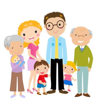 famiglia numerosa: Cartone animato Grande famiglia con i genitori, bambini e nonni, illustrazione vettoriale Vettoriali
