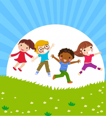 Happy jumping kids  Vector
