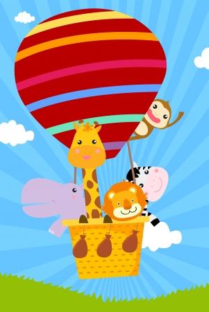 flying monkey: animal and hot balloon  Illustration