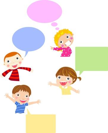 niños con pancarta: Los niños lindos de la historieta y bandera charla