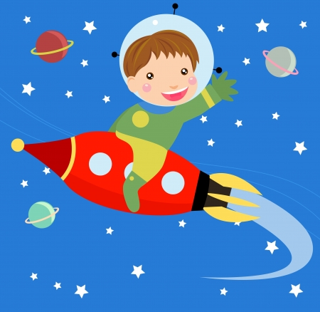 launching: Cartoon boy fly riding red fast rocket
