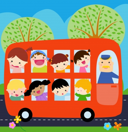 cartoon school girl: A bus with kids  Illustration