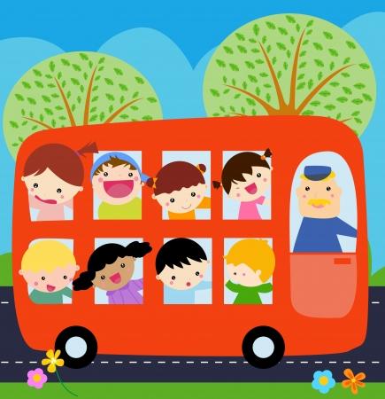 chofer de autobus: Un autobús con niños