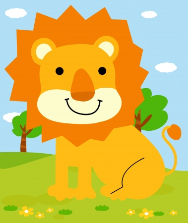 A vector illustration of a cute Lion