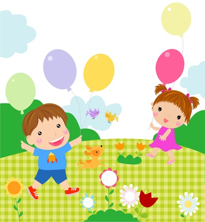 boy and girl playing  Vector