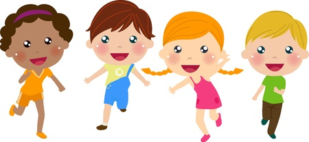 kids holding hands: ni�os corriendo
