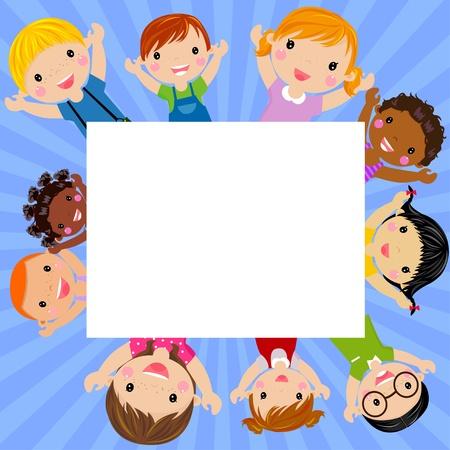 border cartoon: kids and banner Illustration