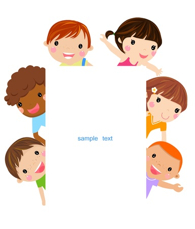 kids and banner Vector