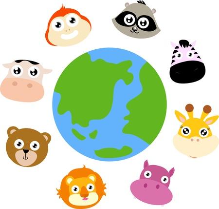animals around the globe Stock Vector - 16041872
