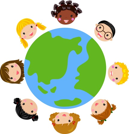 multicultural group: world kids vector