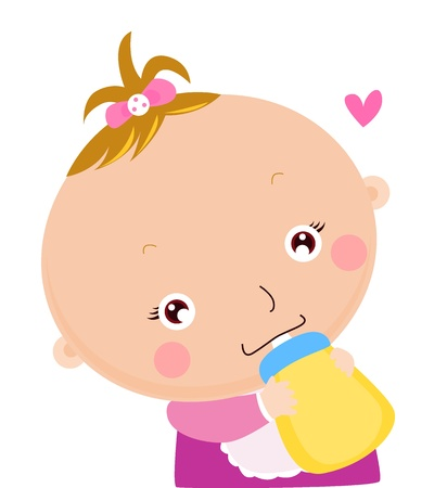 sucking: Baby drinking bottle
