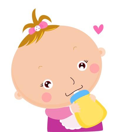 nato: Bambino bere bottiglia