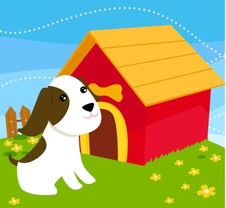 cute dog and dog house Vector