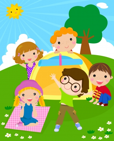 acampar: niños y tienda Vectores