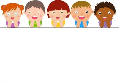 cute border: bambini e bandiera