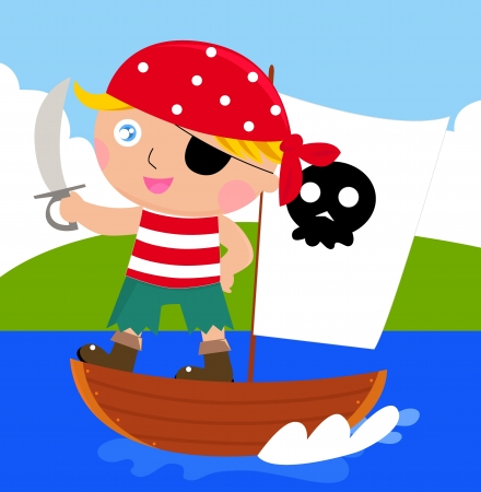 Cartoon pirate kid with sword Vector