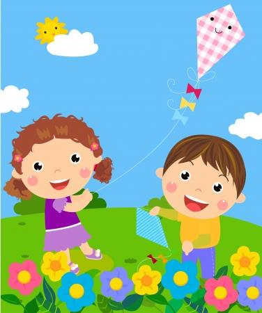 凧: 楽しんで子供たち