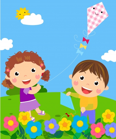 kids having fun  Stock Vector - 15741919
