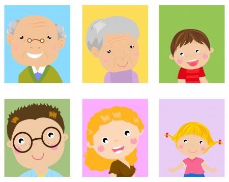 caricatura: Foto de familia feliz Vectores