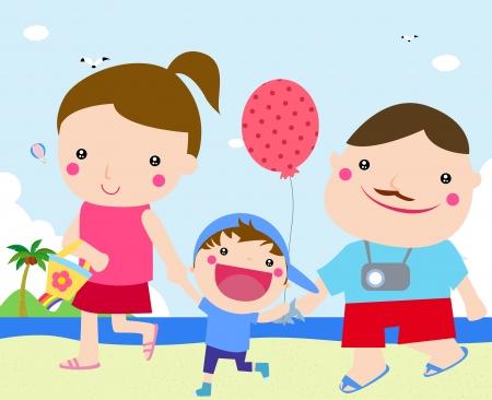 family holiday: family holiday  Illustration