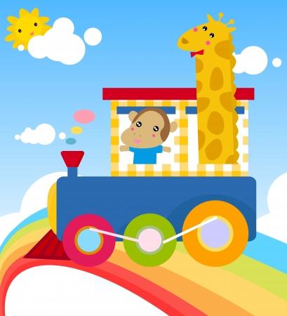 cartoon train and animal