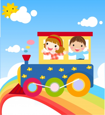 boy and girl on Train  Vector