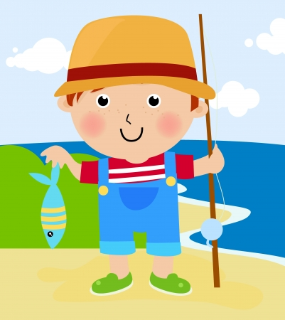 young boy beach: boy with fishhook and fish  Illustration