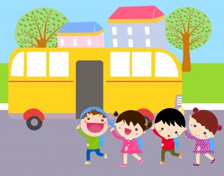 fila de espera: autob�s escolar