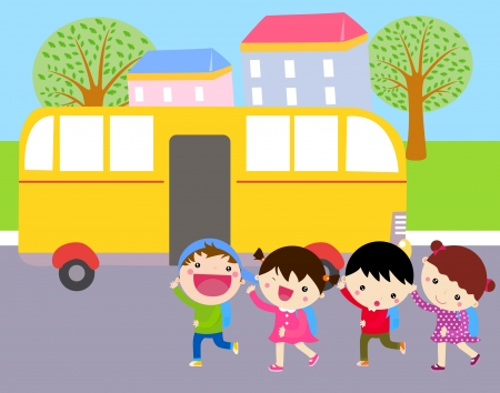 file d attente: bus scolaire Illustration