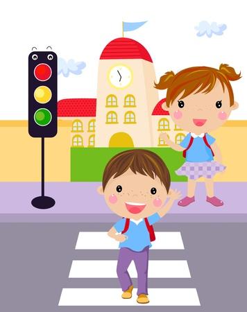 senda peatonal: Dos ni�os que utilizan un paso de peatones para cruzar la calle Vectores