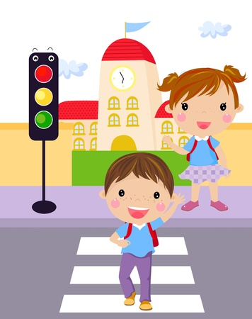 Two children use a cross walk to cross the street  Vector