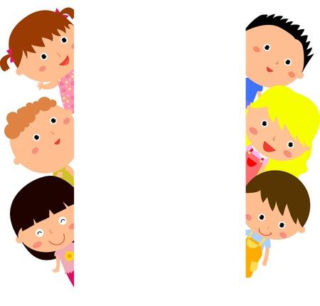 かわいい漫画の子供のフレーム  イラスト・ベクター素材
