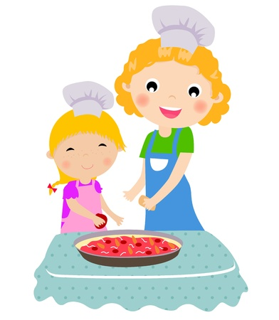 Happy mother with her daughter cooking in the kitchen  Vector