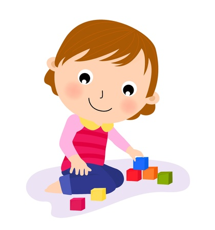 toddler playing: cute little playing her toy  Illustration