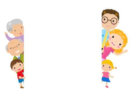 familia y marco Ilustración de vector