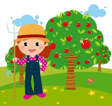 Little farmer with a pitchfork in his hand Vector