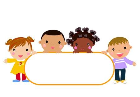 les enfants et les bannières Vecteurs