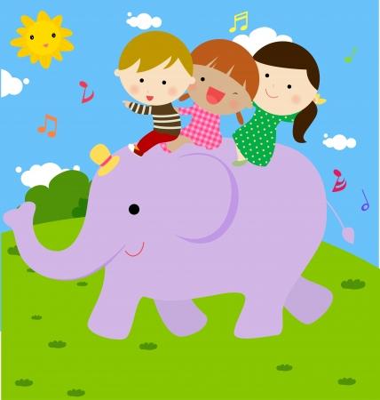 słońce: dzieci i słonia Ilustracja