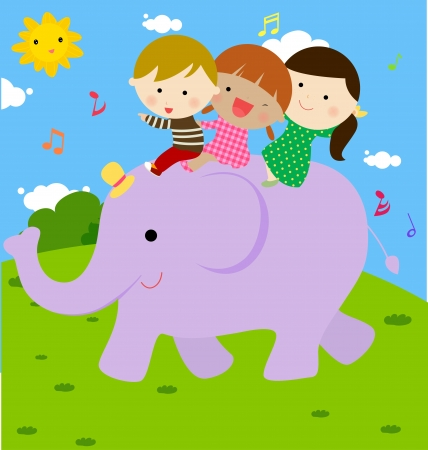 kids and elephant  Vector