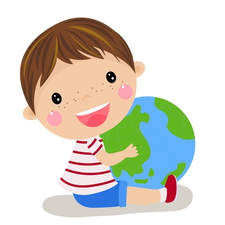 cute boy holding the globe  Vector